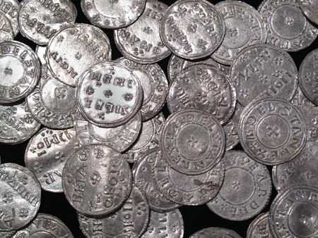 saxon: Hoard of Anglo Saxon and Viking silver penny coins found at The Vale of York, South Yorkshire, England, UK, dating from the 10th century