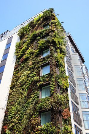Modern ecological environmental friendly skyscraper with a facade garden covered in flora plants, London, England, UK photo