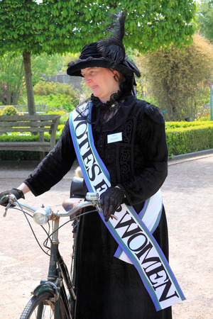 Wales, UK - May 18, 2014   Actress reenacting the suffragette Alice Abadam at The National Botanic Gardens of Wales, Llanarthney