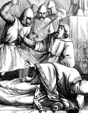 An engraved illustration image of the murder assassination of Thomas a Becket at Canterbury cathedral from a Victorian book dated 1866