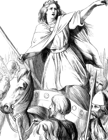 period costume: An engraved vintage illustration of  Queen Boudicca  Boudicea  from a Victorian book dated 1866 Stock Photo