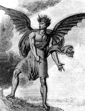 dated: An engraved illustration image of the devil from a Victorian book dated 1836  Stock Photo