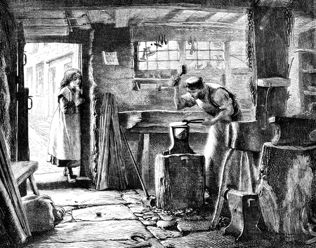 dated: An engraved vintage illustration engraving of a blacksmiths in his workshop, being watched by his daughter from a Victorian newspaper dated 1867 Stock Photo