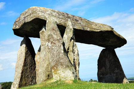 approx: Pentre Ifan, is a prehistoric megalithic communal stone, burial chamber which dates from approx 3500BC in Pembrokeshire, Wales, UK Stock Photo
