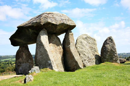 burial: The Pentre Ifan, is a prehistoric megalithic communal stone, burial chamber which dates from approx 3500BC in Pembrokeshire, Wales, UK