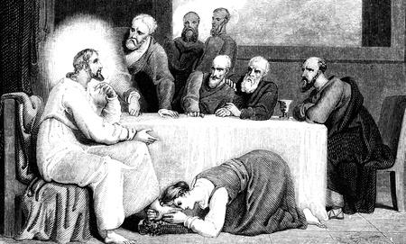 1836 일자 빈티지 그루지야어 책에서 예수 그리스도의 발을 세척 메리 Magdelane의 새겨진 그림 이미지 스톡 콘텐츠