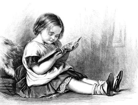 An engraved vintage illustration engraving of a little girl reading a picture book from a Victorian newspaper dated 1869 Standard-Bild
