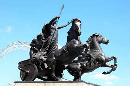 north   end: Queen Boudicas statue stands at the north end of Westminster Bridge in London, England Editorial