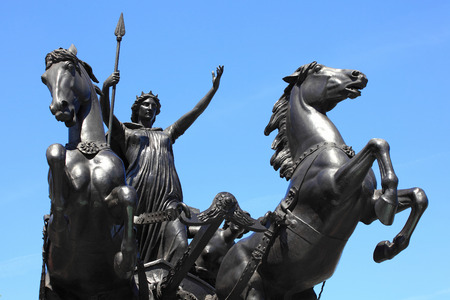 chariot: Queen Boudica's  Boudicea  statue stands at the north end of Westminster Bridge  London, England, UK,  Boudica the queen of the British Iceni tribe of Norfolk led an uprising against the Roman occupation in AD61