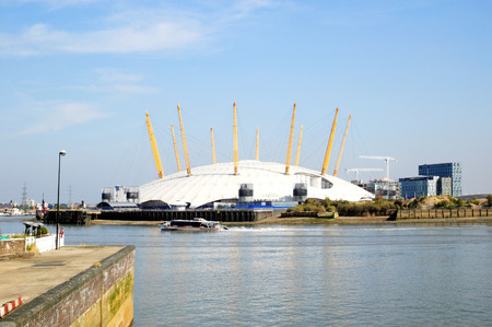 approached: London, United Kingdom, Sep 27, 2009   The Millenium Dome approached from the River Thames  Now known as the O2 Concert Hall, popular for it s live music acts