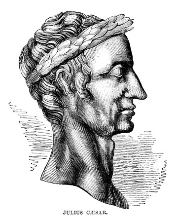 roman empire: An engraved vintage illustration portrait of Julius Caesar 100-44BC  from a Victorian book dated 1866 that is no longer in copyright
