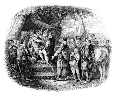 13th century: An engraved vintage illustration  of King John signing the Magna Carta  from a Victorian book dated 1866 that is no longer in copyright