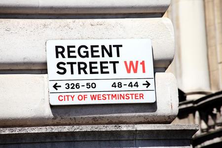 west end: Regent Street sign, Westminster, West End, London, England, UK