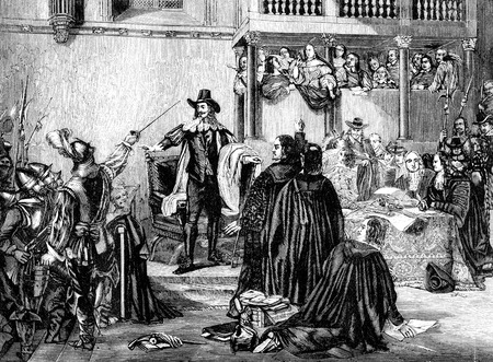 accused: An engraved illustration image of the trial of  king CharlesI of England, UK, from a Victorian book dated 1866 that is no longer in copyright Editorial