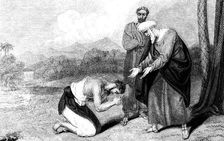 Een gegraveerde illustratie van de gelijkenis van de verloren zoon uit een Victoriaanse boek gedateerd 1836 vintage is dat niet meer in het auteursrecht