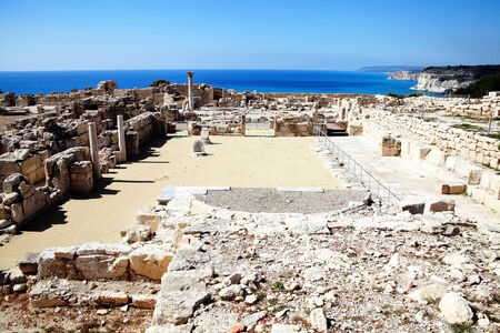 civilisations: The 4th century Roman ruins at Nea Paphos, Cyprus looking out to the Mediterranean Sea