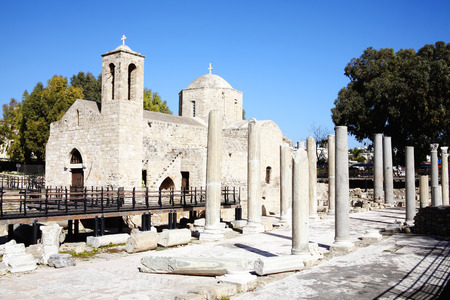 roman pillar: The 12th century church of Agia Kyriaki church with it s Roman ruins and mosaics, which stands on the site of an earlier Christian Byzantine basilica, Paphos,Cyprus  It is the site of St Paul s Pillar a marble column on which the apostle St Paul received  Stock Photo
