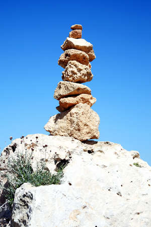 balanced rocks: Balanced rocks in a spiritual stacked zen-like arrangement