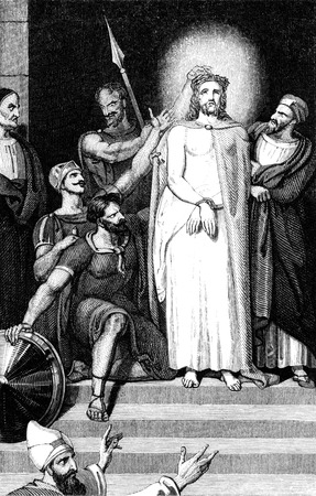 An engraved illustration image of  Jesus Christ Crowned With Thorns, by W.T.Green from a Georgian book titled Illustrated to the Testament dated 1836  illustration