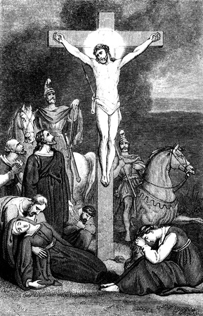 gospels: An engraved illustration image of  The Crucifixion of Jesus Christ  from a Georgian book titled Stock Photo