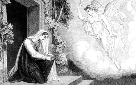 """r image: Una imagen de la ilustraci�n de la vendimia grabado de la anunciaci�n a la Virgen Mar�a del nacimiento de Jes�s, por R. Westall de un libro de estilo georgiano titulado """"ilustr� a la Testamento 'fechado 1836 que ya no est� en el derecho de autor"""