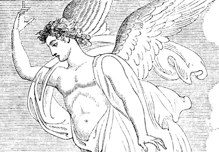 archangel: An engraved illustration of an angel by R. Westall from a Georgian book titled \