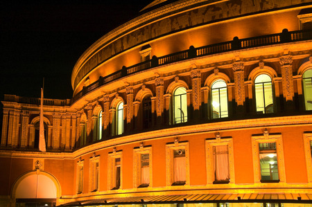 Night shot of the Royal Albert Hall, built 1867-71 to commemorate the death of Queen Victorias beloved consort Prince Albert. It is the leading classical music venue in The UK and is the home of the Prom
