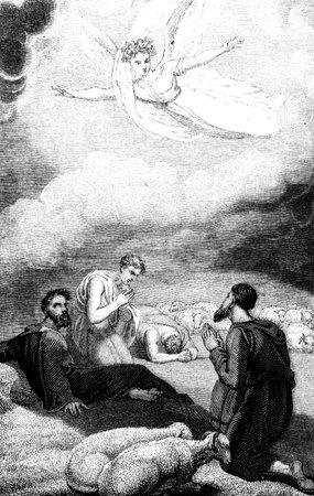 r image: Un'illustrazione immagine incisa epoca dell'annunciazione ai pastori la nascita di Ges� Cristo, da R. Westall da un libro intitolato georgiana 'illustrata al Testamento' datata 1836, che non � pi� in copyrigh