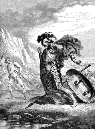 titled: An engraved vintage illustration image of David and Goliath from a Victorian book titled