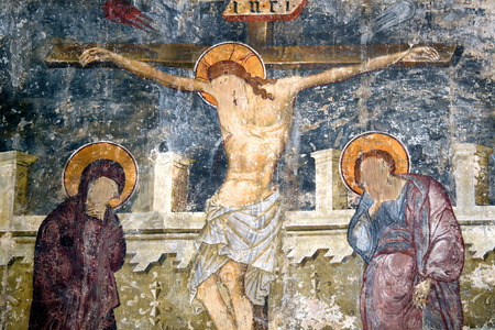 jesus easter: Medieval 15th century painting of the Crucifixion of Jesus at Kolossi Castle, Cyprus
