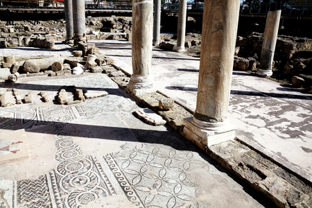 ancient civilisations: The 12th century church of Agia Kyriaki church with its Roman ruins and mosaics, which stands on the site of an earlier Christian Byzantine basilica, Paphos,Cyprus.