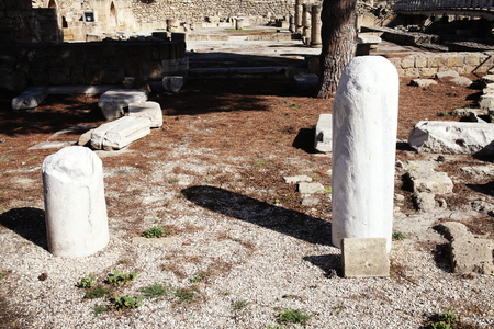 roman pillar: St Pauls Pillar a marble column (seen on the right of the picture) on which the apostle St Paul received 39 lashes after trying to convert the islands Roman governor Sergius Paulus in AD45.The column stands in the church of Agia Kyriaki, Paphos,Cyprus