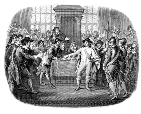 An engraved illustration image of  Oliver Cromwell dissolving the Long Parliament in England, UK, from a Victorian book dated 1868 that is no longer in copyright, Imagens