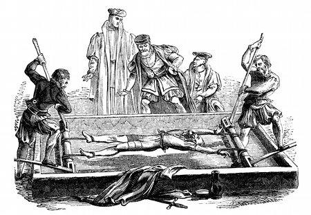 An engraved illustration image of a victim being tortured on a medieval middle ages rack in England, UK, from a Victorian book dated 1868 that is no longer in copyright, Stock Illustration - 38394371