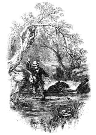 hombre pescando: Una imagen, ilustración, grabado de un pescador macho adulto pesca con mosca en un río de un libro de estilo victoriano de fecha 1857, que ya no está en el derecho de autor