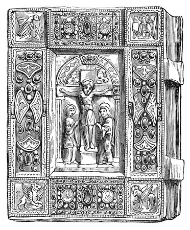 gospels: An engraved illustration image of  the Bible from a Victorian book dated 1878 that is no longer in copyright