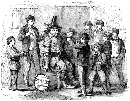 An engraved illustration image of boys with a guy Fawkes dummy preparing to celebrate the 5th of November Gunpowder plot on Bonfire Night from a Victorian book dated 1870 that is no longer in copyright