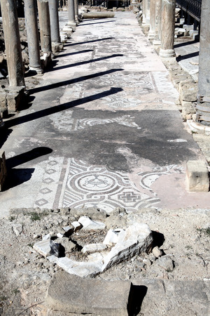 civilisations: Roman ruins and mosaics at  the church of Agia Kyriaki  at Paphos,Cyprus, which stands on the site of an earlier Christian Byzantine basilica.  Stock Photo
