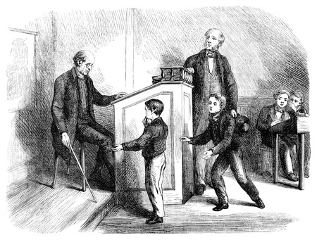 An engraved illustration image of a teacher in a school classroom giving a boy pupil caning punishment discipline from a Victorian book dated 1870 that is no longer in copyright