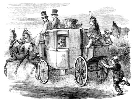 An engraved illustration image of an old fashioned Georgian horsedrawn stagecoach full of travelling passengers from a Victorian book dated 1870 that is no longer in copyright Stock Photo - 39212279