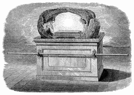 An engraved vintage illustration image of  the  Ark of the Covenant of the Old Testament Bible from a Victorian book dated 1883 that is no longer in copyright Stock Illustration - 39251378