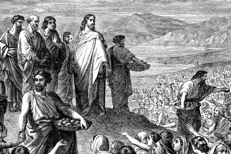 무리 예수 수유의 새겨진 빈티지 그림 이미지는 또한 저작권에 더 이상 1883 년 빅토리아 책에서 신약 성경의 다섯 천의 먹이로 알려진