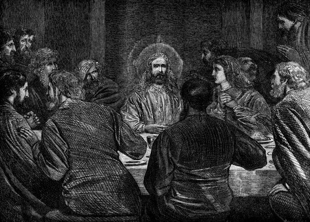 new testament: An engraved vintage illustration image of Jesus at the Last Supper of the New Testament Bible from a Victorian book dated 1883 that is no longer in copyright Editorial