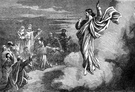 the gospels: An engraved illustration image of Jesus Christ Editorial