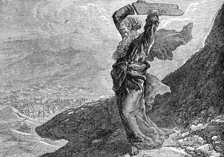 commandments: An engraved illustration image of Moses breaking the two tablets of stone, from a vintage Victorian book dated 1883 that is no longer in copyright Stock Photo