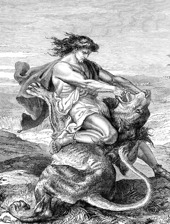 An engraved illustration image of  Samson slaying the lion, from a vintage Victorian book dated 1883 that is no longer in copyright