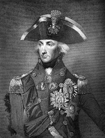 napoleon bonaparte: An engraved illustration drawing image of  Admiral Lord Horatio Nelson the victor over Napoleon Bonaparte at the Battle of Trafalgar in 18o5, from a vintage Victorian book dated 1884 that is no longer in copyright