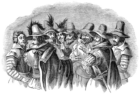 An engraved illustration image of Guy Fawkes and his accomplices. The conspirators of the 5th of November Gunpowder plot on Bonfire Night, from a Victorian book dated 1878 that is no longer in copyright