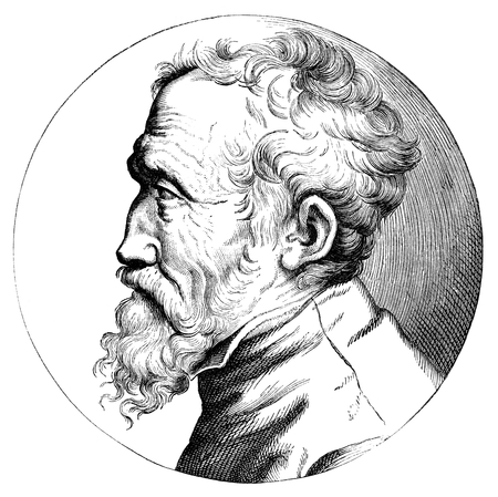 An engraved illustration drawing of Michelangelo artist, painter, sculptor, best known for the ceiling paintings of the Sistine Chapel at the Vatican, Rome, Italy, from a Victorian book dated 1879 that is no longer in copyright Editorial