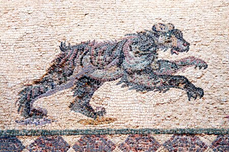 civilisations: Leopard from a 4th century Roman mosaic at the Villa of Theseus, Paphos, Cyprus